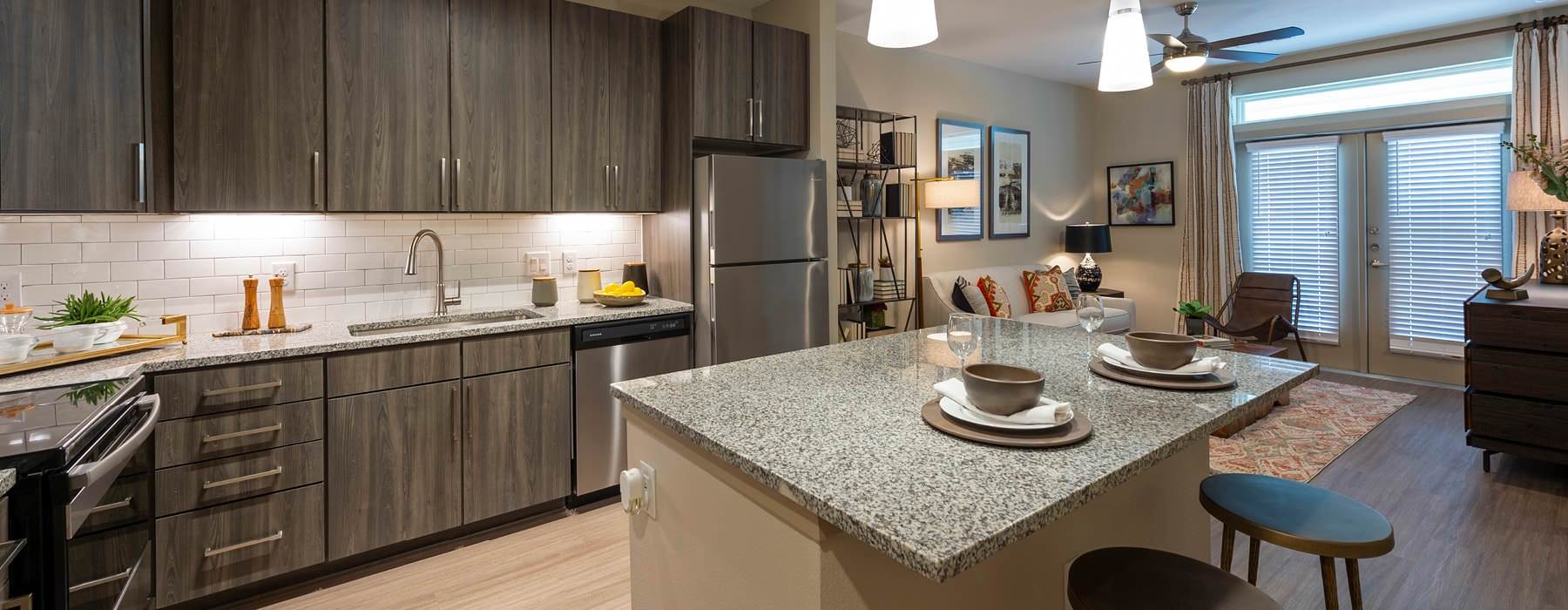 pendant lighting brightens kitchen island with counter seating