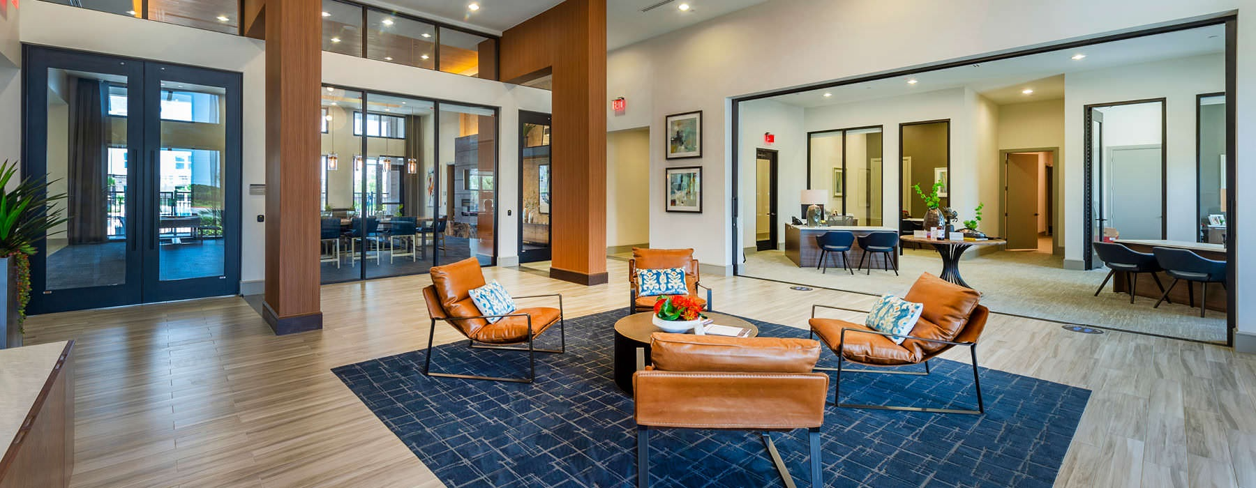 spacious clubhouse with ample lighting